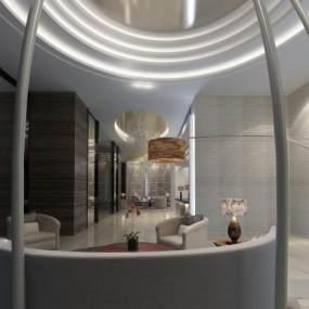 现代酒店大堂3D模型【ID:744763016】