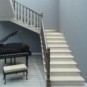 现代U型楼梯实木扶手3D模型【ID:336069568】