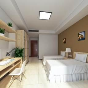 现代简约酒店客房3D模型【ID:733380319】