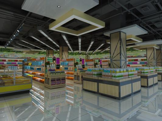 现代商场超市3D模型【ID:143807121】