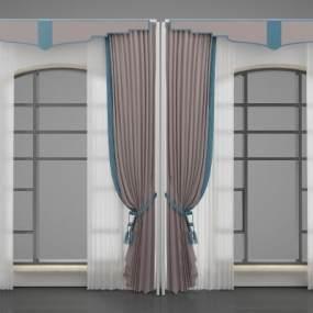 新中式风格窗帘3D模型【ID:245456644】
