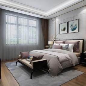 新中式卧室3D模型【ID:533725216】