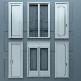 现代白色烤漆实木单开门推拉门组合3D模型【ID:335682158】