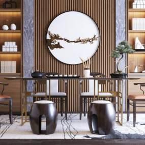新中式茶室3D模型【ID:635600121】