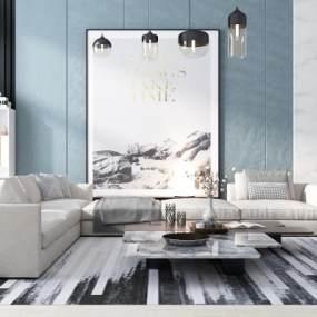 现代沙发茶几吊灯挂画组合3D模型【ID:635349738】