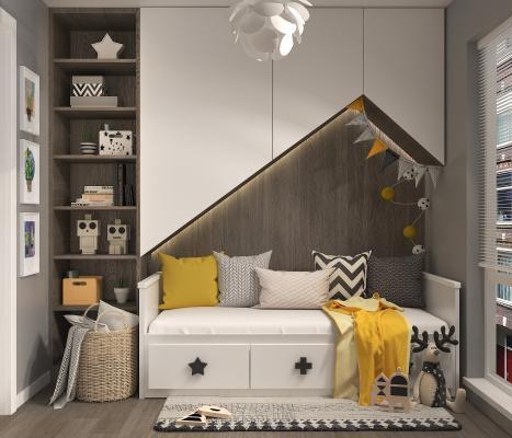 北欧风儿童房卧室3D模型【ID:552120779】