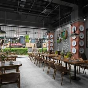 工业风咖啡厅3D模型【ID:635001321】
