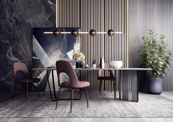 現代餐廳餐桌椅組合3D模型【ID:742334184】