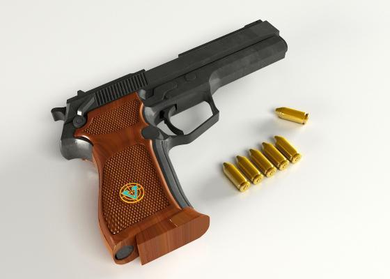 手枪3D模型【ID:440643218】