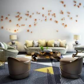 现代沙发茶几组合3D模型【ID:631984790】