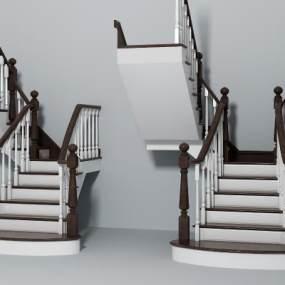 现代简欧楼梯组合3D模型【ID:336179570】