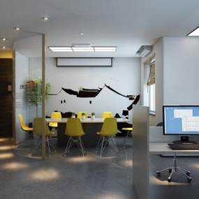 工業風格辦公室3D模型【ID:946535057】