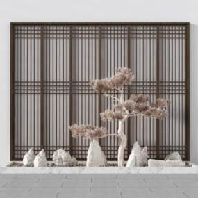 新中式园艺景观小品景观树石头景观阳台3D模型【ID:136167458】
