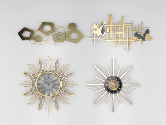 现代墙饰玄关钟表挂件3D模型【ID:350454360】