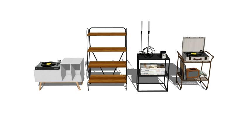 北欧实木装饰柜架1SU模型【ID:247731059】