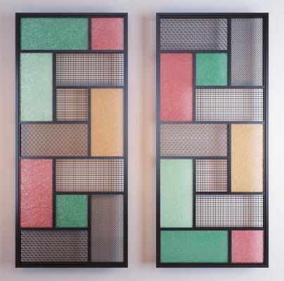 工业风彩色玻璃隔断组合3D模型【ID:353316705】