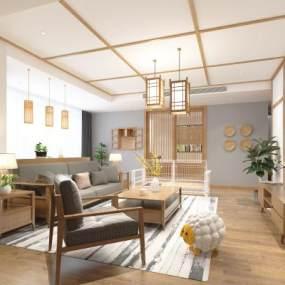 日式客厅3D模型【ID:543525023】