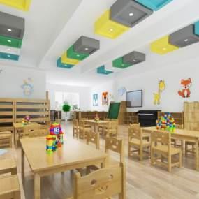 现代幼儿园教室3D模型【ID:944696699】