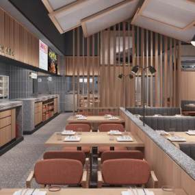 新中式主题餐厅3D模型【ID:648171292】