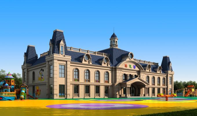 欧式室外户外幼儿园建筑3D模型【ID:143508902】