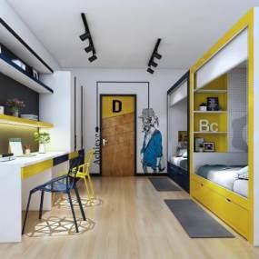 现代学校宿舍3D模型【ID:935455661】