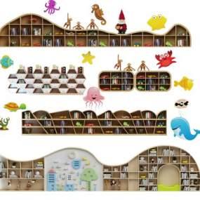 现代儿童书柜3D模型【ID:142401584】
