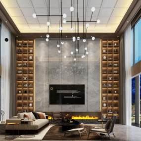 新中式别墅客厅3D模型【ID:543397097】