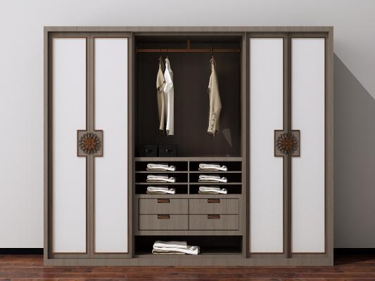 新中式实木衣柜3D模型【ID:148154444】