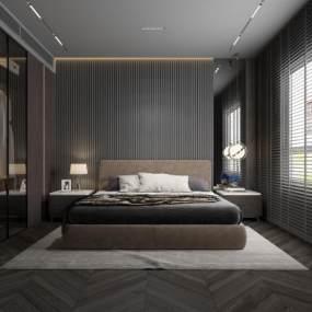 現代黑白灰臥室3D模型【ID:551163287】