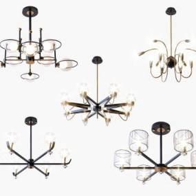現代輕奢鐵藝吊燈組合3D模型【ID:743876836】