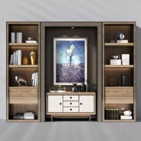 现代书柜装饰柜书本摆件挂画3D模型【ID:130566580】