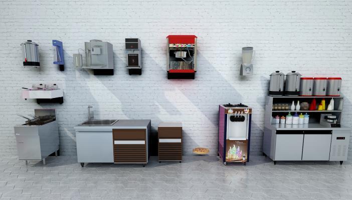 現代奶茶店商用器材3D模型【ID:231041651】