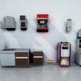 现代奶茶店商用器材3D模型【ID:231041651】