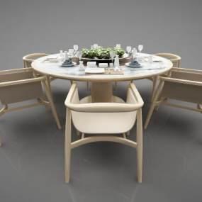 新中式风格餐桌3D模型【ID:844590836】