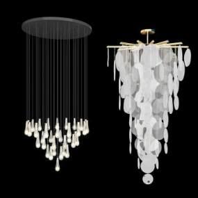 現代吊燈組合3D模型【ID:753499837】