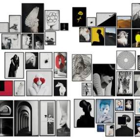 现代照片墙装饰画挂画组合3D模型【ID:235964915】