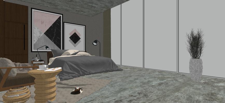 现代简约家装卧室空间SU模型【ID:246672360】