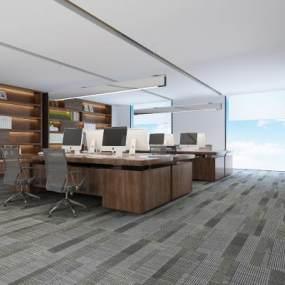 现代敞开式办公室3D模型【ID:949275058】