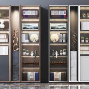 现代实木书柜3D模型【ID:153022505】