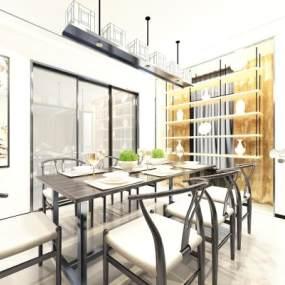 新中式餐厅3D模型【ID:537133142】