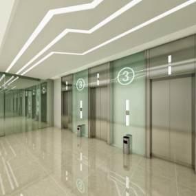 现代简约科技感电梯间3D模型【ID:732979644】