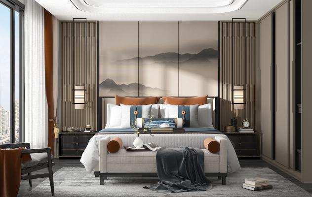 新中式臥室3D模型【ID:545692245】