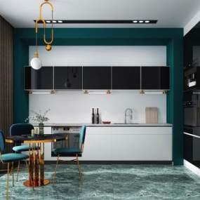 現代開放式廚房餐廳3D模型【ID:547872339】