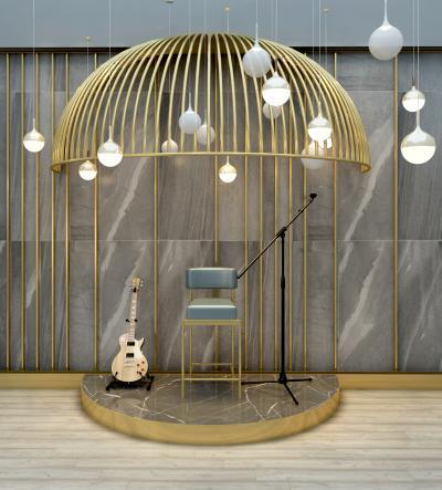 现代鸟笼舞台吉他唱麦组合3D模型【ID:830624067】