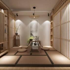 新中式禪意茶室3D模型【ID:651070198】