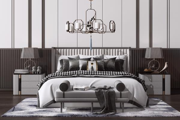 新中式双人床组合 床头柜 边几