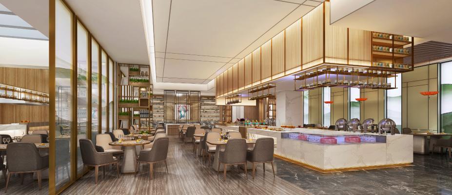 新中式奢华酒店餐厅3D模型【ID:948429977】