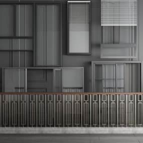铝合金推拉平开门窗栏杆组合 3D模型【ID:341382226】