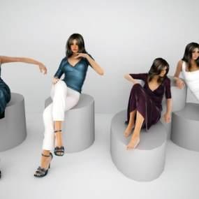 现代时尚美女人物组合3D模型【ID:330935066】
