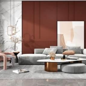 现代轻奢沙发茶几组合3D模型【ID:653820793】